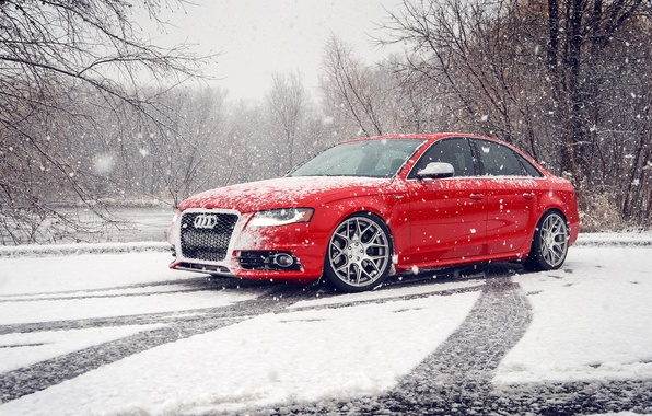 Picture winter, snow, Audi, Audi, red, red, winter