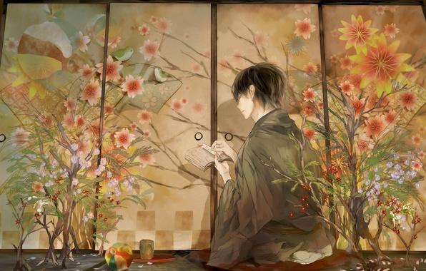 Picture flowers, birds, anime, characters, guy, kimono, bookmark, tirade