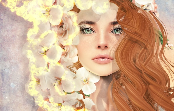 Picture girl, flowers, face, hair