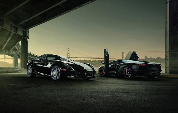 Picture Lamborghini, Ferrari, V12, Aventador, Supercars, Cars, Supercars, 599 GTB