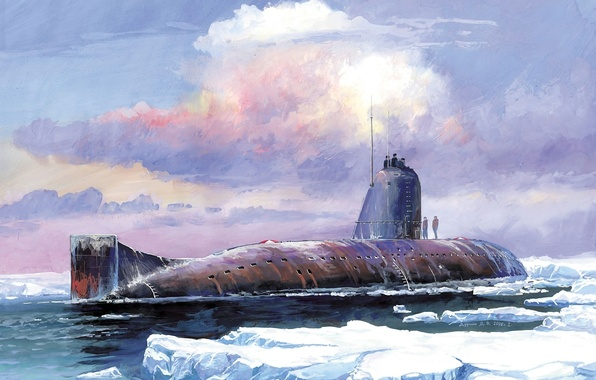 Picture the sky, water, clouds, boat, art, ice, USSR, underwater, submarine, K-3, Lenin, Komsomol