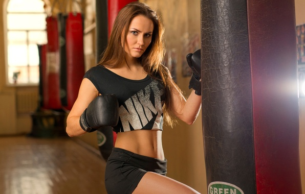 Picture girl, Boxing, gloves, pear, training