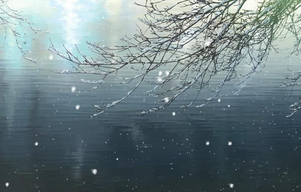 Picture winter, light, snow, pond, branch, Makoto Xingkai, Garden of fine words