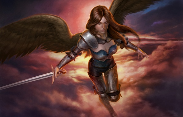 Picture look, flight, weapons, fiction, wings, angel, sword, armor, art, angel, Jason Engle