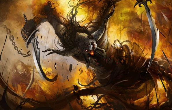 Picture weapons, fire, monster, the demon, art, rage, chain, horns, swords
