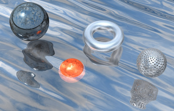 Picture water, reflection, rendering, ball, the volume, Thor