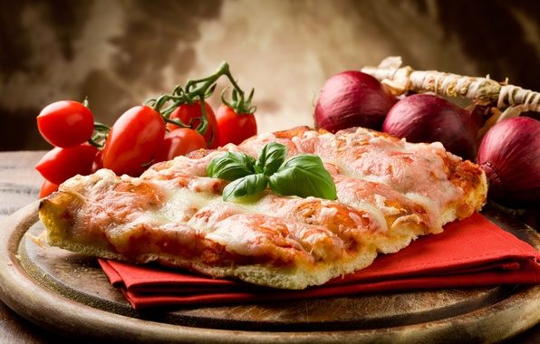 Picture cheese, bow, vegetables, pizza, tomatoes, napkin, dish, bacon