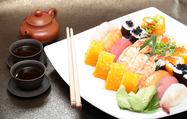 Picture sauce, sushi, rolls, Japanese cuisine, ginger