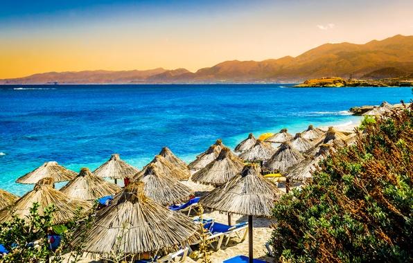 Picture sea, beach, mountains, nature, tropics, palm trees, umbrellas
