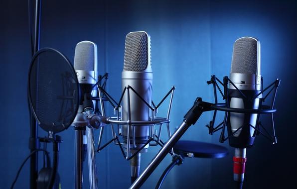 Picture studio, professional, microphones
