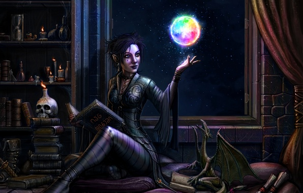 Picture girl, night, magic, dragon, elf, skull, candle, window, MAG, book, sphere