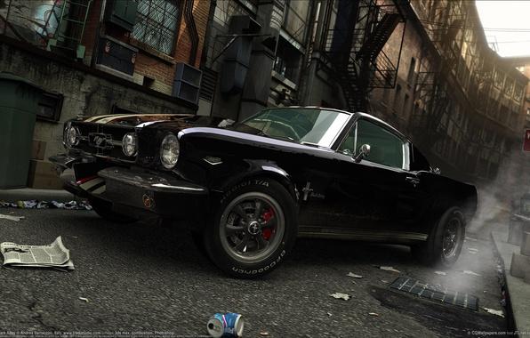 Picture garbage, street, black, smoke, Ford