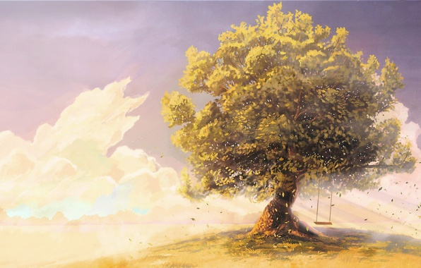 Picture the sky, clouds, childhood, swing, tree, the wind, figure