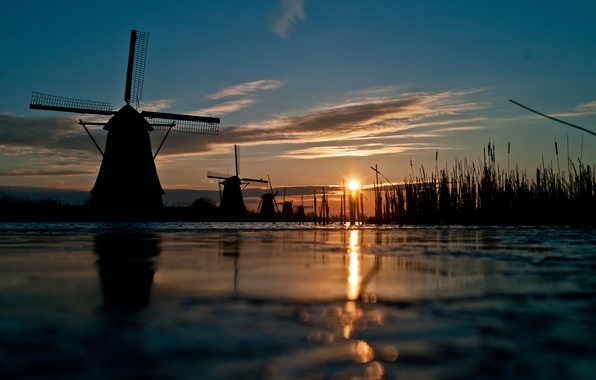 Picture the sky, grass, the sun, sunset, river, channel, windmill