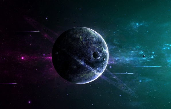 Picture dark, Star, night, planet, space ships, Sci Fi