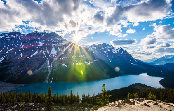 Picture forest, the sky, clouds, trees, mountains, lake, stones, rocks, Canada, Albert, the rays of the …