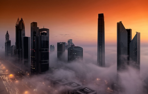 Picture the sky, the city, fog, home, Dubai, Dubai, UAE