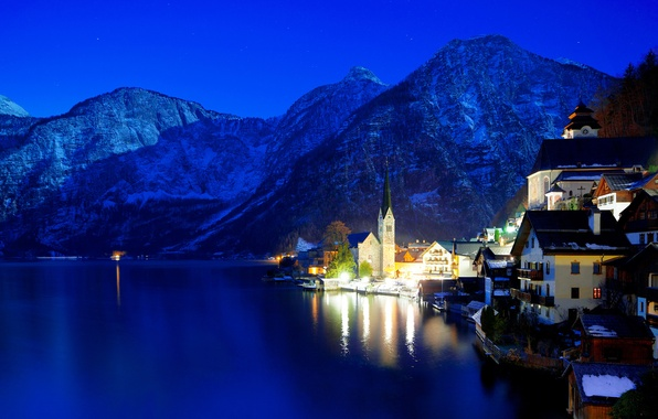 Picture winter, night, lights, Austria, Hallstatt
