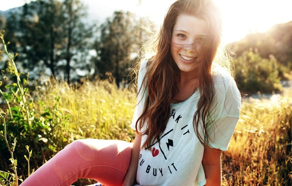 Picture grass, look, light, pose, smile, Girl