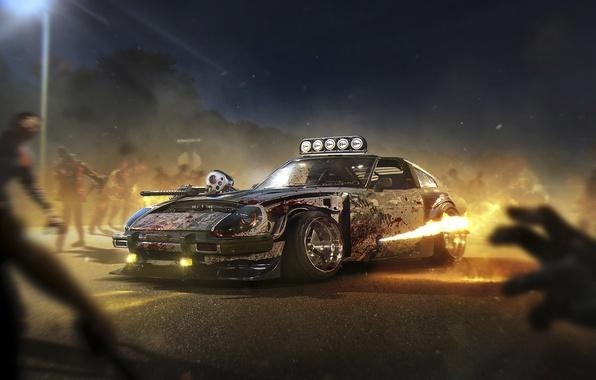 Picture Halloween, Zombie, Fire, Datsun, Tuning, Future, 240Z, by Khyzyl Saleem