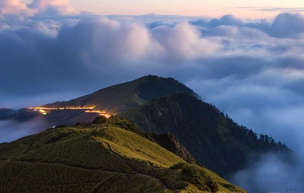 Picture the sky, clouds, mountains, fog, hills, Taiwan