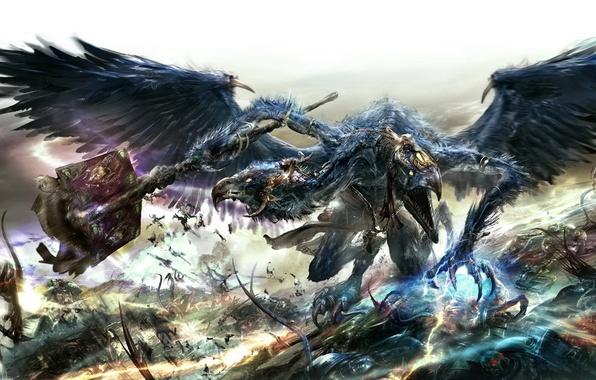 Picture the demon, battle, chaos, space Marines, Warhammer 40k, lord of change, the Tzeentch, Tzeentch