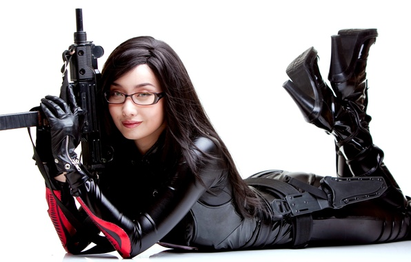 Picture face, smile, model, shoes, leather, latex, trunk, heels, guns, white, black, Asian, dress, uniform, beautiful, …