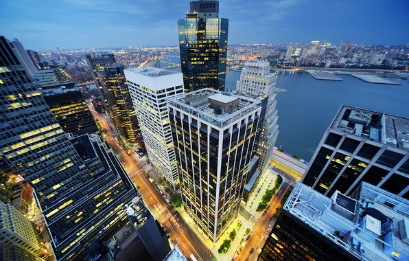 Picture building, New York, night city, Manhattan, skyscrapers, Manhattan, New York City