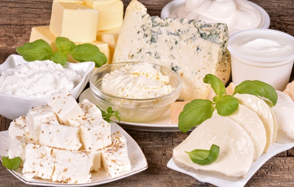 Picture greens, cheese, cheese, cheese, sour cream, dairy products, greens, sour cream, milk products, cottage cheese