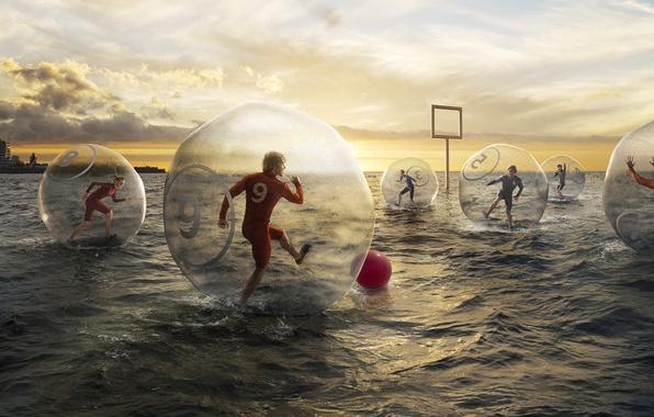 Picture sea, water, creative, football, the game, the ball, humor, gate, romain laurent, novel Lauren