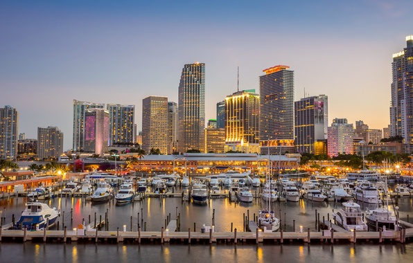 Picture building, yachts, Miami, FL, port, Bay, boats, Miami, piers, Florida, Biscayne Bay, Biscayne Bay