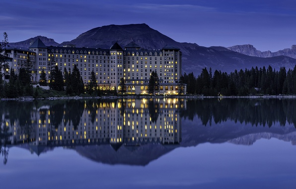 Picture mountains, lake, reflection, the evening, lighting, Canada, Albert, the hotel, Banff National Park, Alberta, Lake …