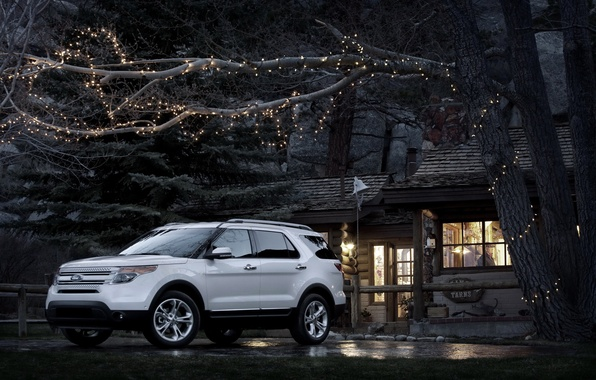 Picture machine, house, Ford, Ford, jeep, SUV, Car, Explorer, tree.