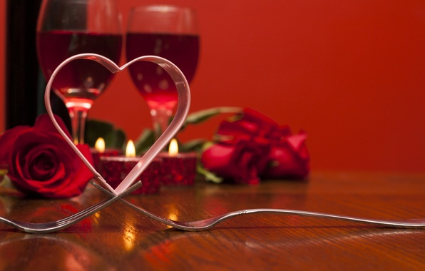 Picture love, wine, roses, glasses, red, love, heart, romantic, Valentine's day, roses
