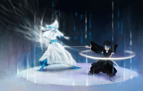 Picture katana, Anime, battle, Bleach, Bleach, art, Rukia Kuchiki, zanpakutō, Shinigami