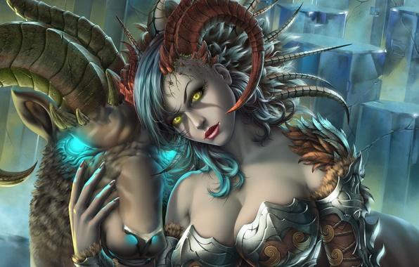 Picture chest, girl, the demon, art, horns, succubus, taiya