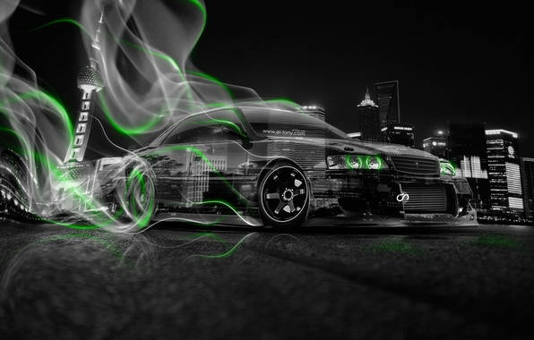 Picture Auto, Night, The city, Smoke, Neon, Green, Machine, City, Drift, Toyota, Drift, Car, Art, Photoshop, …
