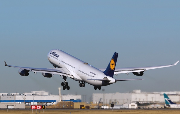 Picture The plane, Day, The rise, Lufthansa, Airbus, In The Air, Airliner, A340