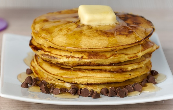 Picture oil, chocolate, honey, pancakes