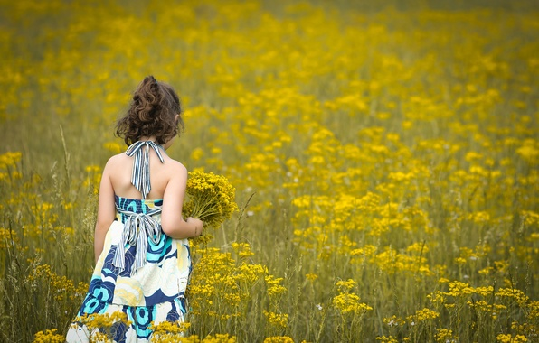 Picture field, flowers, children, background, widescreen, Wallpaper, mood, child, dress, brunette, girl, wallpaper, flowers, flower, widescreen, ...