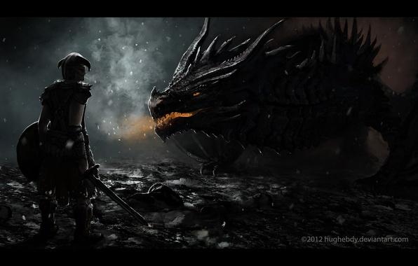 Photo wallpaper skyrim, dragon, dragon born, dovakin