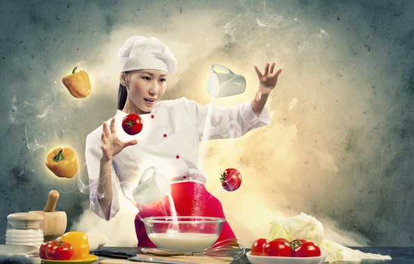 Picture girl, creative, milk, cook, vegetables, tomatoes, flour, pepper, cooking
