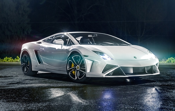 Picture Lamborghini, Light, Gallardo, Night, White, Supercar, 2013, LP560-4, Tuning by, North West Auto Salon
