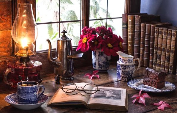 Picture tea, lamp, bouquet, window, glasses, cake, book, still life, the milkman