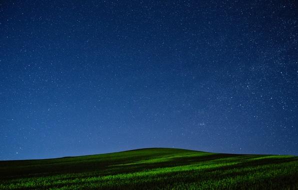 Picture field, the sky, grass, stars, night, hill