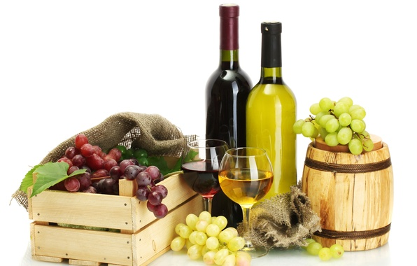 Picture leaves, wine, red, white, glasses, grapes, bottle, box, barrel