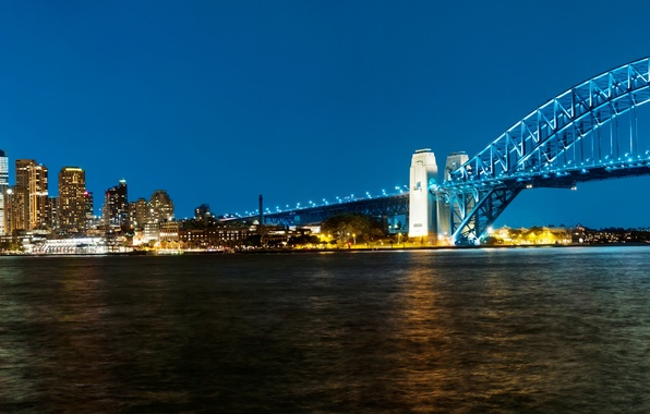 Picture bridge, Australia, panorama, Bay, Sydney, night city, Australia, Sydney, Sydney Harbour Bridge, Harbour Bridge, Harbour …