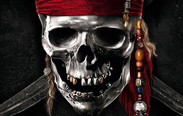 Picture skull, teeth, beard, swords, pirates of the Caribbean
