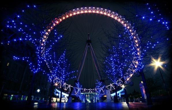 Picture night, lights, Ferris wheel