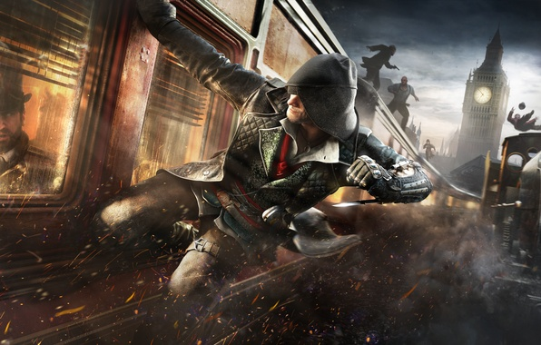 Picture the sky, train, speed, hood, attack, cloak, blade, killer, assassins, Assassin's Creed: Syndicate